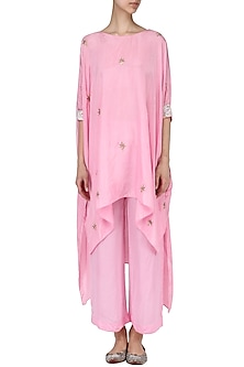 Rose pink gota asymmetric top with matching pants by Nineteen89 by Divya Bagri