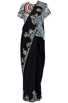 Black Tribal embroidered kaftan top with threadwork saree