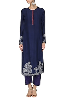 Indigo Threadwork crushed kurta with pants by Nineteen89 by Divya Bagri