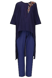 Indigo floral embroidered kurta with straight pants
