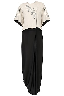 Off white calico overlap jacket with pleated skirt