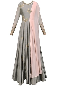 Grey and Pink Butterfly Embellished Anarkali