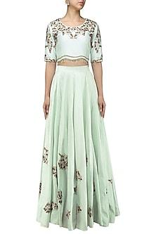 Powder Blue Crop Top Skirt