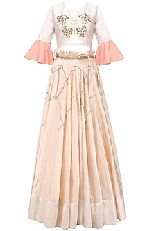Baby Pink Butterfly Embroidered Crop Top and Skirt Set