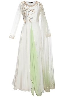 Pearl green embroidered drape anarkali gown