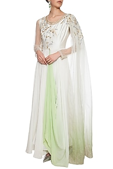 Pearl green embroidered drape anarkali gown by Shikha and Nitika