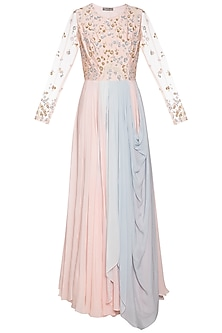 Baby pink and steel grey embroidered anarkali gown by Shikha and Nitika