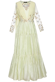 Mint green embroidered layered anarkali gown