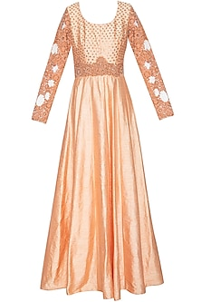 Peach embroidered anarkali set by Shikha and Nitika