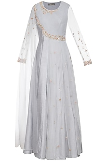 Steel grey embroidered drape anarkali gown