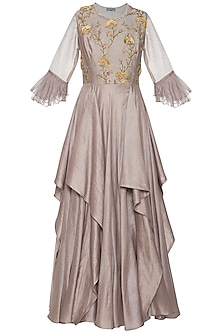 Dark grey embroidered drape anarkali gown by Shikha and Nitika