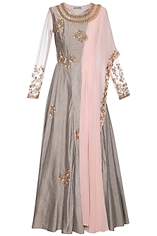 Dark grey and pink embroidered anarkali gown