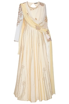 Off white and yellow embroidered anarkali set by Shikha and Nitika