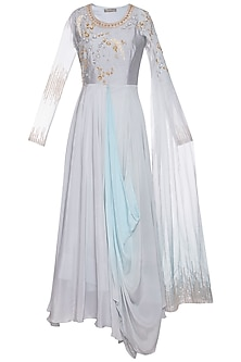 Steel grey and blue embroidered drape anarkali gown