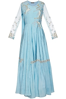 Sky blue embroidered drape anarkali gown by Shikha and Nitika