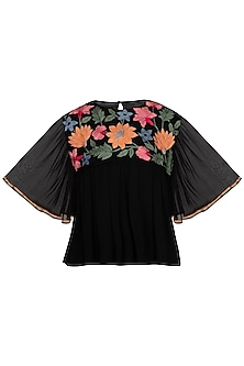Black Machine Embroidered Peplum Top by Namrata Joshipura