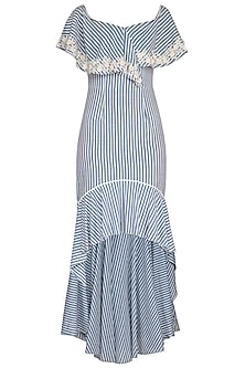 Blue Hand Embroidered Striped Dress by Namrata Joshipura