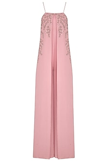 Dusty Pink Hand Embroidered Jumpsuit by Namrata Joshipura