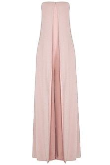 Muted Pink Shimmery Layered Jumpsuit by Namrata Joshipura