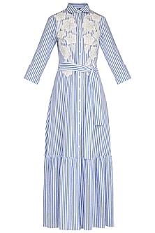 Blue Hand Embroidered Striped Maxi Dress With Belt by Namrata Joshipura