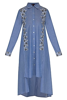 Blue Hand Embroidered High-Low Denim Tunic by Namrata Joshipura