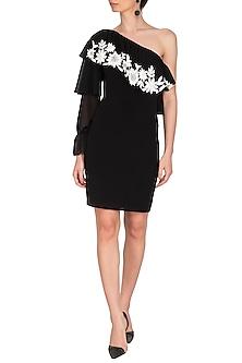 Black Embroidered One Shoulder Dress by Namrata Joshipura
