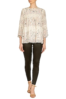 Ivory Embroidered & Printed Top by Namrata Joshipura