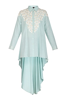 Aqua Blue Embroidered Tunic by Namrata Joshipura