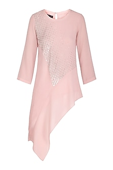 Dusty Pink Embroidered Asymmetric Top by Namrata Joshipura