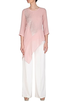 Dusty Pink Embroidered Asymmetric Top by Namrata Joshipura