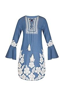 Blue Embroidered Denim Dress by Namrata Joshipura