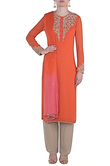 Orange Kurta Set by Namrata Joshipura