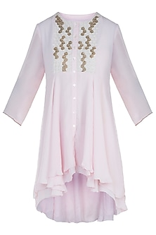 Frost Pink Embroidered Layered Tunic