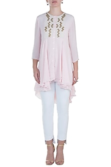Frost Pink Embroidered Layered Tunic by Namrata Joshipura
