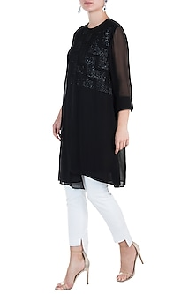 Black Chevron Tunic by Namrata Joshipura
