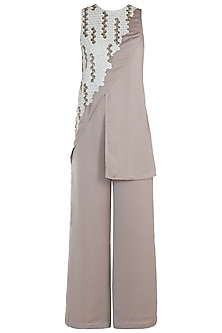 Beige Embroidered Jumpsuit