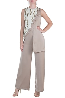 Beige Embroidered Jumpsuit by Namrata Joshipura