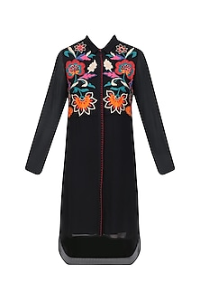 Black High Low Tunic with Multicolored Floral Embroidery