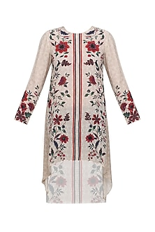 Ivory Block Panel Tunic with Multicolored Floral Embroidery