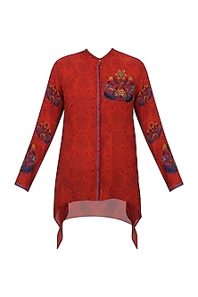Red Self Patterned Shirt with Multicolored Floral Embroidery