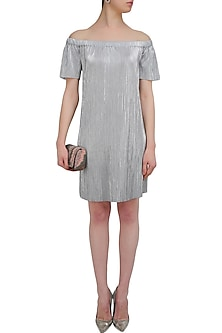 Silver sunray off shoulder dress by Namrata Joshipura