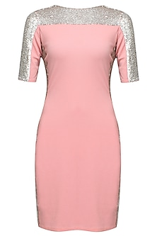 Pink and silver sequins embellished bubble dress by Namrata Joshipura