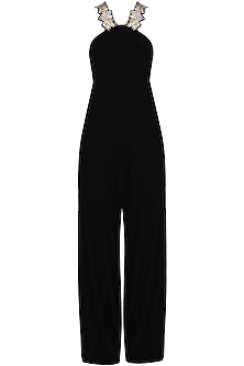 Black sequins embellished halter jumpsuit
