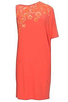 Orange trellis one sleeved dress