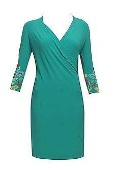 Turtle green monalisa gems embellished dress by Namrata Joshipura