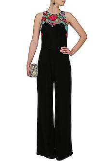 Black gems embellsihed jelly jumpsuit by Namrata Joshipura
