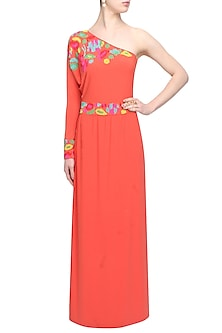 Orange gems embellished one sleeved gown by Namrata Joshipura
