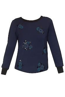 Navy floral motifs sakley sweatshirt