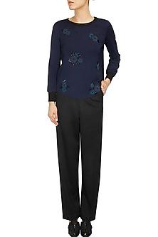 Navy floral motifs sakley sweatshirt by Namrata Joshipura