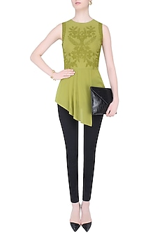 Lemon Green Eliza Peplum Top by Namrata Joshipura